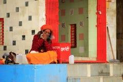 Indian musician smoking in Varanasi Stock Images
