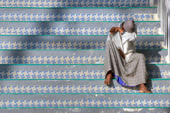Indian Muslim on stairs Stock Image