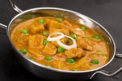 Indian Mutter Paneer in Metal Bowl Stock Photography