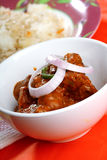 Indian Mutton Curry with rice. Indian mutton curry and fried rice in red background Royalty Free Stock Photos