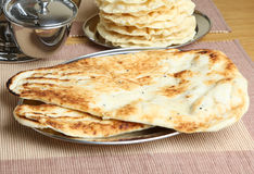 Indian Naan Bread. Indian naan flatbreads on serving tray Royalty Free Stock Photos