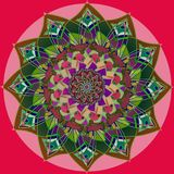 INDIAN NAIVE MANDALA FLOWER, PLAIN RED BACKGROUND, CENTRAL FLOWER IN PURPLE, BEIGE, GREEN, BURGUNDY vector illustration