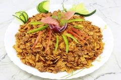 INDIAN NAMKEEN CHANA JOR GARAM. Indian namkeen snacks lahsun gathiya spices crunchy white bowl background flavour fried oil royalty free stock image