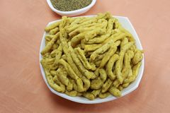 INDIAN NAMKEEN SNACKS GATHIYA BESAN stock photo