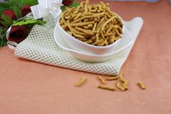 INDIAN NAMKEEN SNACKS GATHIYA BESAN stock photography