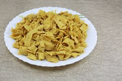 INDIAN NAMKEEN SNACKS GATHIYA BESAN royalty free stock image