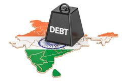 Indian national debt or budget deficit, financial crisis concep. T, 3D Stock Photography