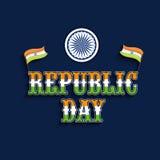 Indian National Flag and Ashoka Wheel for Indian Republic Day celebration. Royalty Free Stock Photos