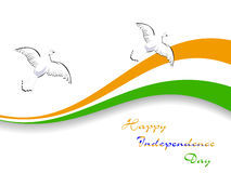 Indian National flag with flying pigeons. Royalty Free Stock Photos
