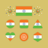 Indian national flag icons set on golden background Stock Photo