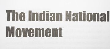 The Indian National Movement Printed on a white background with black ink royalty free stock photos