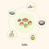 Indian National Symbols Doodle Vectors Collection Stock Image