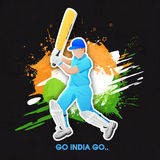 Indian national tricolors with batsman for Cricket. Royalty Free Stock Photo