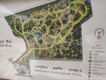 Indian national zoological park map at new Delhi India. stock photos