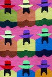 Indian Native Fashion and colored rug background, Peru. Background of colored Peruvian textile at the market of Cusco in Peru, 2015 royalty free stock photos
