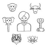 Indian nature and national symbols icons Stock Photography