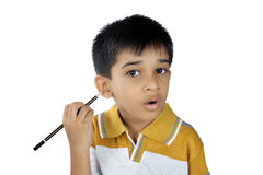 Indian naughty boy. With black pencil Royalty Free Stock Images