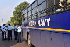 Indian Navy bus and Air Force Soldiers at India Gate, New Delhi, India Royalty Free Stock Images