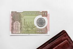 Indian New One Rupee Note, Coin And Wallet royalty free stock image