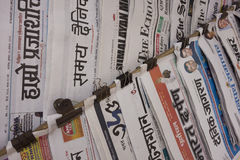 Indian newspapers in wall Stock Photos