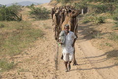 Indian nomad attended the annual Pushkar Camel Mela Royalty Free Stock Photos