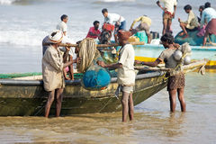 Indian Ocean artisan fishing. In the Bengala Gulf, India. Artisan fishing is any kind of small-scale, low-technology, commercial or subsistence fishing royalty free stock photo