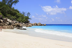 Indian Ocean and beach Anse Georgette Royalty Free Stock Photos