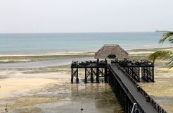 Indian ocean, Bridge over the beach, Zanzibar, Tanzania, Africa Stock Images