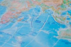 Indian Ocean in close up on the map. Focus on the name Indian Ocean. Vignetting effect.  stock image
