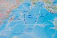 Indian Ocean in close up on the map. Focus on the name Indian Ocean. Vignetting effect.  royalty free stock image
