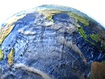 Indian Ocean on Earth - visible ocean floor. Indian Ocean on 3D model of Earth. 3D illustration with plastic planet surface and ocean floor. Elements of this Stock Images