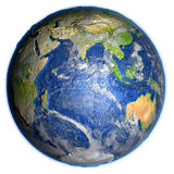 Indian Ocean on Earth - visible ocean floor. Indian Ocean on 3D model of Earth. 3D illustration with plastic planet surface and ocean floor. Elements of this Royalty Free Stock Image