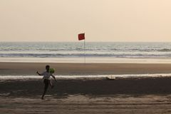 Indian Ocean in Goa. Рeople have a rest in the evening. Indian Ocean in Goa. Evening and sunset. Morjim beach. Sand and silence. А real pleasure of royalty free stock image