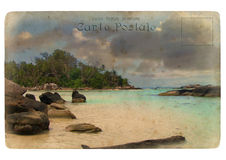 Indian Ocean landscape, Seychelles. Old postcard. Isolated on white background vector illustration
