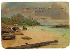 Indian Ocean landscape, Seychelles. Old postcard. stock illustration