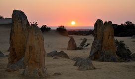 Indian Ocean Orange Sunset from the Pinnacle Desert Royalty Free Stock Images
