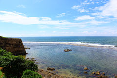Indian ocean and part of the Galle Fort Royalty Free Stock Photos