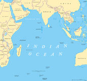 Indian Ocean political map. Countries and borders. World`s third largest ocean division, bounded by Africa, Asia, Antarctica and Australia. Named after India vector illustration