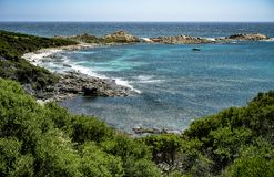 Indian Ocean Rocky Coast with rich bush. Just south of Yallingup on the West Australian coast is a rocky section of coastline with the bush growing right up to stock photography