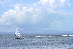 Indian ocean with sailing boat. Indian ocean, Sanur area, Bali, Indonesia Royalty Free Stock Images