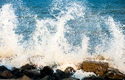 Indian ocean- splashes of the the wave. Splashes of an ocean water. Waves meet rocks and stones royalty free stock photos