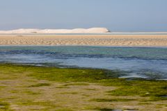 Indian Ocean view in the De Mond coastal nature reserve, South Africa. White sand beach dunes and deep blue Indian Ocean view in the De Mond coastal nature royalty free stock image