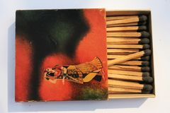 Indian 1970 Old Antique Very rare customised Safety matchbox WIMCO brand with matches on white on Indian traditional music Concept. Indian 1970s Old Antique Very royalty free stock image