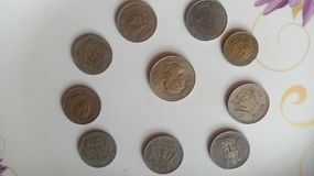 Indian old coins. stock image
