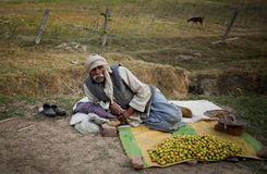 Indian old men sell plum. Indian  old man sell plum on footpath Stock Photo