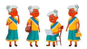 Indian Old Woman Poses Set Vector. Elderly People. Senior Person. Aged. Friendly Grandparent. Banner, Flyer, Brochure royalty free illustration