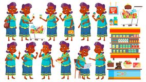 Indian Old Woman Poses Set Vector. Elderly People Shopping. Hindu. Asian. Senior Person In Sari. Aged. Beautiful Retiree royalty free illustration
