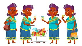 Indian Old Woman Shopping Vector. Elderly People. Hindu In Sari. Asian. Senior Person. Aged. Caucasian Retiree. Smile stock illustration