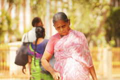 Indian old woman. Old woman on the street in Madurai Royalty Free Stock Photos