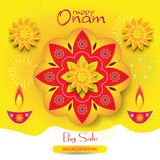 Indian Onam festival in Kerala sale banner India. Happy Onam Indian Traditional festival, August, India Holiday, Sale banner, gift card. Kerala`s Onam Festival Stock Image